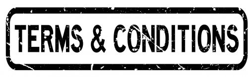Grunge black terms and conditions square rubber seal stamp on white background